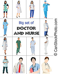Big set of Medical doctors and nurse. Vector illustration