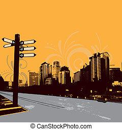 urban illustration - modern grunge urban graphic design