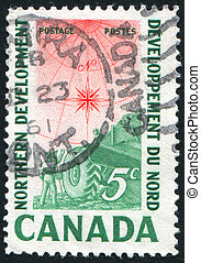 Compass Rose - CANADA - CIRCA 1961: stamp printed by Canada,...