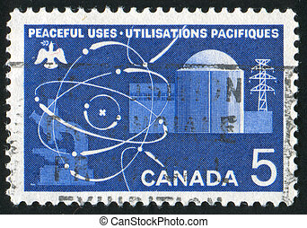 Atomic Reactor - CANADA - CIRCA 1966: stamp printed by...