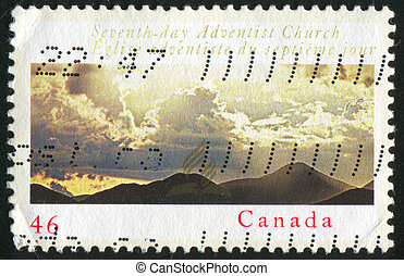 mountains - CANADA - CIRCA 2000: stamp printed by Canada,...