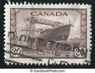 Corvette - CANADA - CIRCA 1942: stamp printed by Canada,...