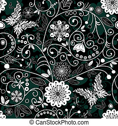 White and dark seamless floral pattern
