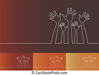 Simple line illustration of hands. - Simple line...