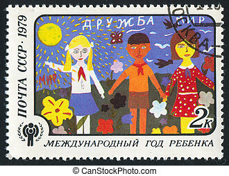 Childrens Drawings - RUSSIA - CIRCA 1979: stamp printed by...
