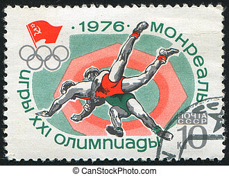 wrestling - RUSSIA - CIRCA 1976: stamp printed by Russia,...