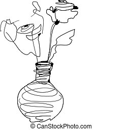 sketch roses standing in a vase - a sketch roses standing in...