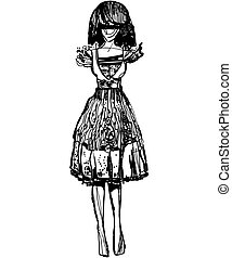 sketch of a girl in a cotton dress - a sketch of a girl in a...