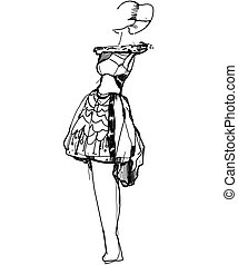 sketch of a girl in a dress
