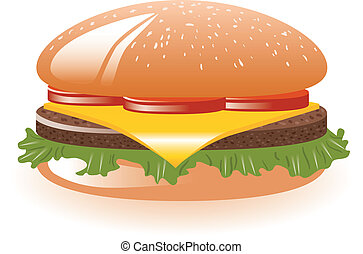 hamburger with lettuce, tomato, cheese and meat