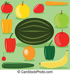 fruits and vegetables - set of fruits and vegetables