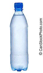 Plastic bottle with water drops