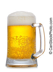 Mug of beer on a white background