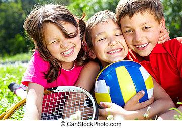 Dear friends - Three children with sports equipment...
