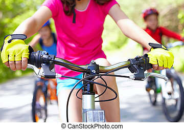 Modern bike - Close-up of handle bar of children?s bicycle