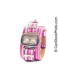 Pink watch - Wristwatch with multicolor bracelet; image...