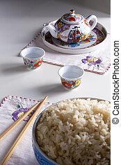motivo, blanco, arroz, tazón