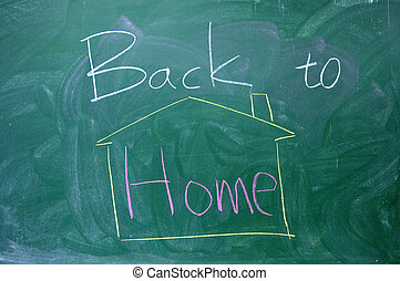 Back to home text on the  blackboard