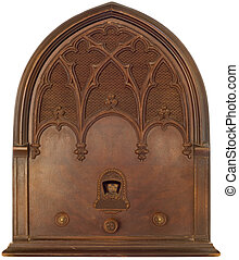 Old radio - Old Echophone radio isolated with clipping path