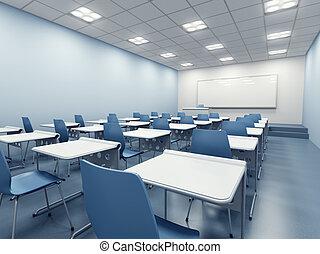 modern classroom interior - modern blue classroom. 3d...