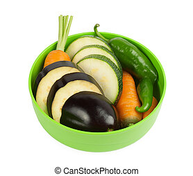 vegetables on a plate isolated on white