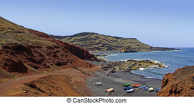 Coast Line, El Golfo, Lanzarote - Panorama view of fishing...