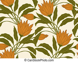 Vector seamless flowers background.