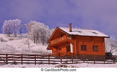 Wooden chalet in wintry view