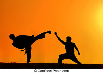 Karate fighters - Black silhouette of two karate fighters on...