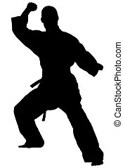 KungFu - Black silhouette of karate man prepared for fight
