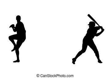 Baseball players - Silhouette of baseball thrower and batter...