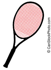 Tennis racket with red cords on white background