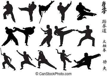 Karate fighters - Different karate fighters and symbols on...