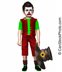 Sad Little Clown - Cute little boy dressed like a clown with...