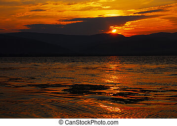 Sunrise on riverbank - beautiful orange sunrise over Danube...