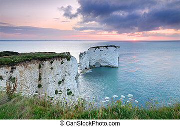Old Harry Rocks, Dorset, at sunrise - Sunrise over Old Harry...