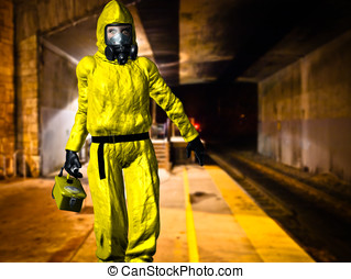 Hazardous Material Inspector - Dressed in yellow HAZMAT suit...