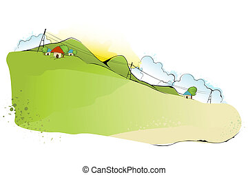 Abstract Landscape - illustration of green landscape in...