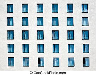 White facade with windows - White hotel facade with windows