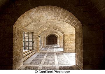 almudaina and Majorca Cathedral tunnel arches in Palma de...