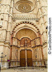 Cathedral of Majorca main door in Palma de Mallorca at...