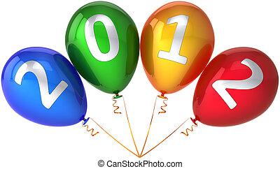 New 2012 Year balloons in a bunch - 2012 party balloons New...