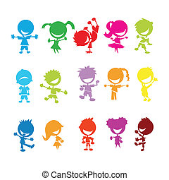 colorful kids - drawing of isolated colorful kids on white...
