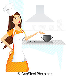 Lady Cook - illustration of lady cooking in kitchen on...
