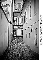 Old narrow street in Ljubljana, Slovenia