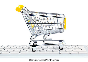 Cart and keyboard. Online Shopping - A cart and a computer...