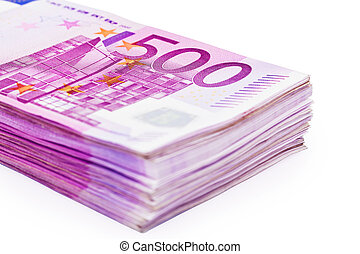 Stack Of 500 Eur Notes - A Stack of 500 Euro Banknotes pile...