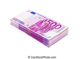 Stack Of 500 Eur Notes - A Stack of 500 Euro Banknotes...