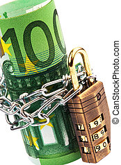 Euro notes with lock and chain