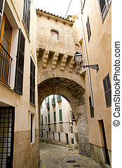 arches of Barrio Calatrava Los Patios in Majorca at Palma de...